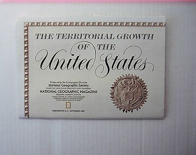 Territorial Growth United States National Geographic September 1987 Map USA Map