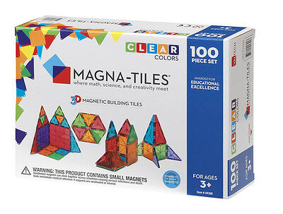 Magna-Tiles 100 Piece Clear Colors 3D Building Set Valtech Brand New in Box