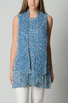 Bnwt Whispers Lilia Slvless Scarf With Knit Vest Size M/14 Blue