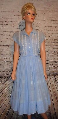 Vintage 1950s R&K Originals Dress Size S/M Blue Lightweight