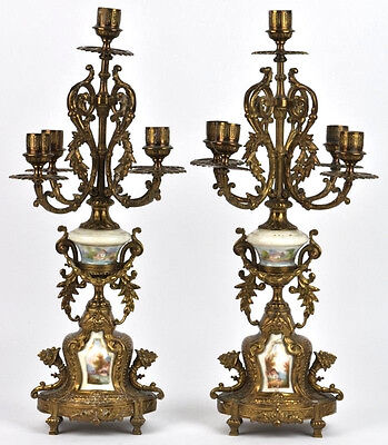 PAIR XL baroque French antique Porcelain plaques brass candelabras 1920