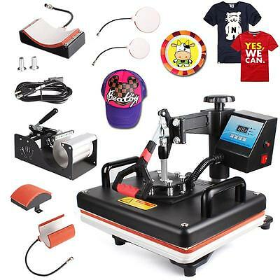 DIY 8 in 1 Transfer Sublimation T-Shirt Mug Hat Plate Cap Heat Press Machine