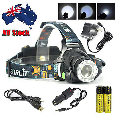 2X 2017 Rechargeable 11000Lm T6 Xm-L Led Headlamp Usb Headlight Zoomable Torch