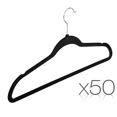 Set of 50X Coat Hangers Flock Velvet Nonslip Coat Clothes Closet Slim Thin