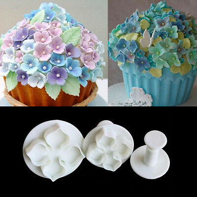 Icing Plunger Mold Hydrangea Flower Mould 3 pcs Hot Cutters New Cake Decorating