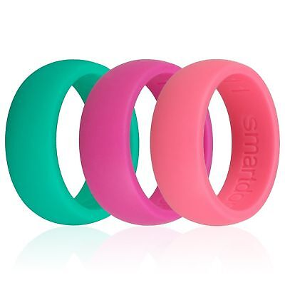 3pc Set Pink Green Rosa Silicone Wedding Ring Band Rubber Men Women's Lover Ring