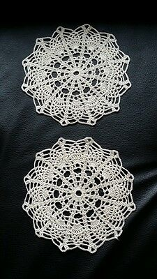 lot de 2 napperons écru fait main au crochet 18 cm