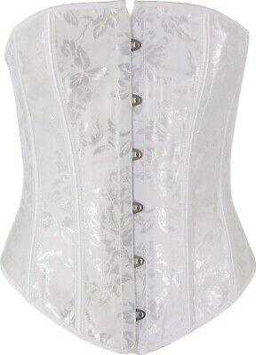 White Corset Cincher Waist Reduction Floral Patterning Satin Trim Bridal