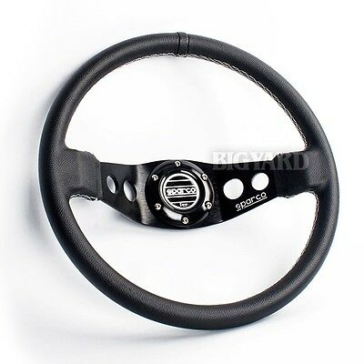 340MM SPARCO Black Spoke Deep Dish Genuine Leather Racing Steering Wheel w/ Horn