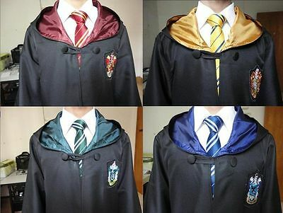 New Harry Potter Robe Tie Set Gryffindor/Hufflepuff/Slytherin/Ravenclaw Cloak