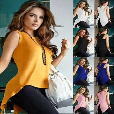 Fashion Women's Lady Summer shirt Sleeveless Slim Blouse Casual Tops T-Shirt