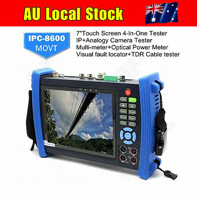 """AU! IPC-8600MOVT 7"""" Touch HD IP Camera Display TDR PTZ POE Test Tester DC Output"""
