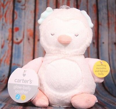 Carter's Glow-Belly Soother Owl Plush Lights & Musical Infant Baby Nursery NWT
