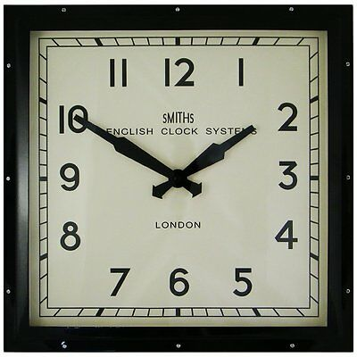 Smiths Clocks Square Wall Clock Black 41Cm New Boxed