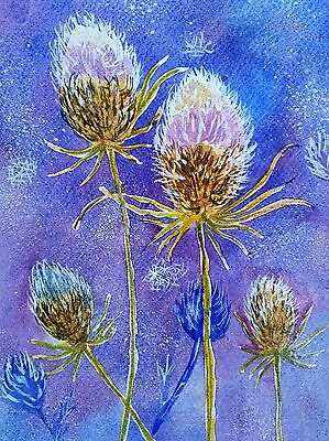 Thistles (Teasels ) In The Snow Abstract Watercolour Original Painting