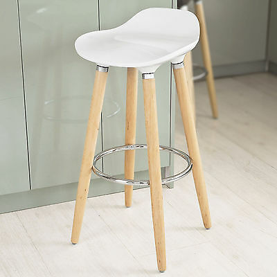 SoBuy® White ABS Plastic Kitchen Breakfast Barstool with Wooden Legs, FST34-W,UK