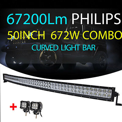 "PHILIPS 50INCH 672W Combo Curved LED Light Bar +4"" 18W CREE Spot Lamps Truck 52"""