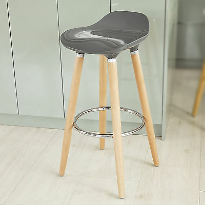 SoBuy® Grey ABS Plastic Kitchen Breakfast Barstool with Wooden Legs, FST34-HG,UK
