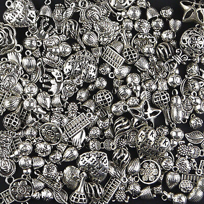 120Pcs Tibet antique silver plated Alloy Pendant charms spacer Jewelry beads Kit