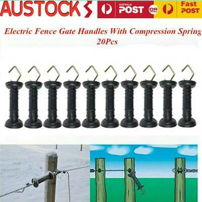 20X Electric Fence Spring Gate Handle Large Shield Heavy Duty Black