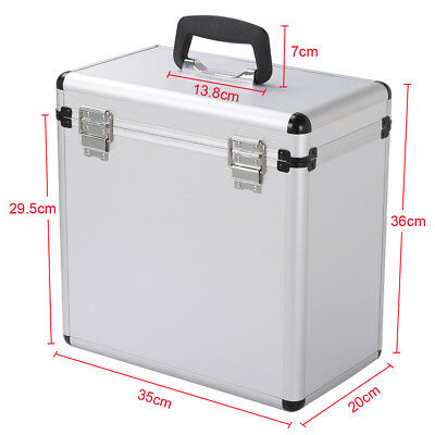 "12"" LP Vinyl Record Storage DJ Collection Box Flight Case Stackable Silver New"
