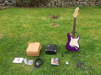 Fender Squier Strat Electric Guitar with amp, headphones and all accessories