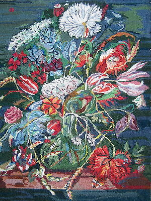 "Large Needlepoint Tapestry Panel Canvas Flowers tulips blue green red 21""x17"""