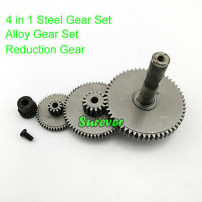 4 In 1 3-6mm Shaft Gear Set Stainless Steel Reduction Gear 0.5-1M Gearbox Kit