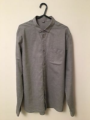 Mens Grey COS Shirt Small Formal All Man Cool Wedding Work Long Buttoned Button