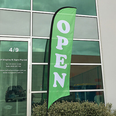 3.5m Green Open  Replacement Flag / Outdoor Sign Banner (Excl. Pole & Base)