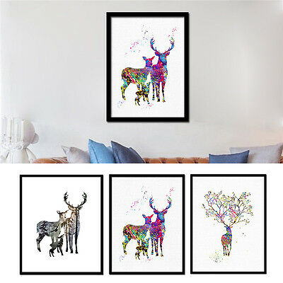 Deer Family Canvas Art Print Painting No Frame Poster Wall Picture Home Decor