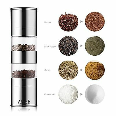 Aicok Pepper Mill Salt and Pepper Grinder 2 in 1 Brushed Stainless Steel Pepp...