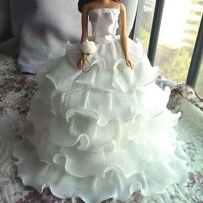 White Handmade Clothes Party Bridal Wedding Princess Dresses For-Barbie Dolls