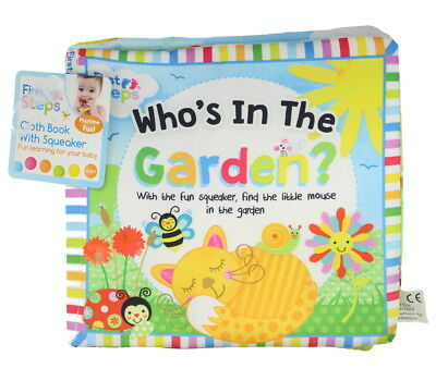 First Steps Babies, Toddlers Who's In The Garden Cloth Book With Fun Squeaker