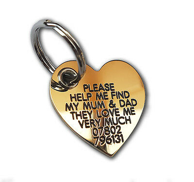 Deluxe Engraved Satin finish Brass ID tags - Reinforced Heart