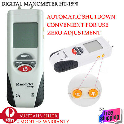 New HT-1890 LCD Screen Display Digital Manometer Handheld Air Pressure Meter