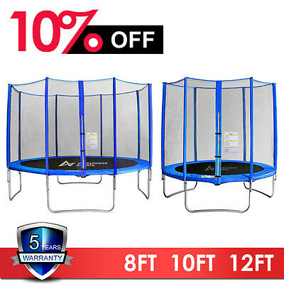 8 10 12FT Trampoline With Enclosure Safety Net Pad Ladder Rain Cover Springs UK