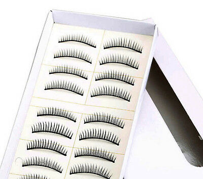 "10 paia 20 ciglia finte naturali 10 pair Eyelashes fake Natural nastro 0,9 ""113"""