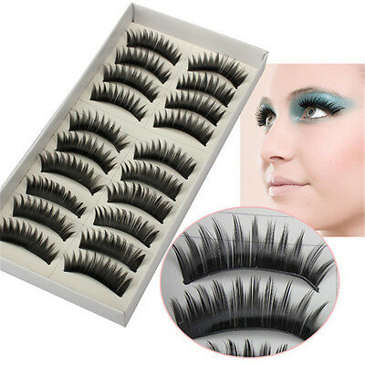 "10 paia 20 ciglia finte naturali 10 pair Eyelashes fake Natural nastro 1,1 ""166"""