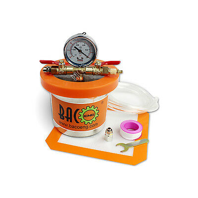 BACOENG Mini 1 Quart 4''(H) x 5.4''(OD) Stainless Steel Vacuum Degassing Chamber