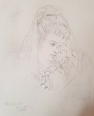 Pencil portrait of young lady inscribed 'Sketch from life, Julia Robinson, 1872