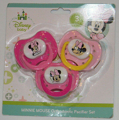 New Disney Baby Minnie Mouse Pink Yellow Orthodontic Pacifier 3 Pk Set