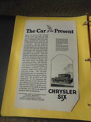 """Print Ad """" Chrysler Six The Car Of The Present Has A Bottom Right Clip Off"""