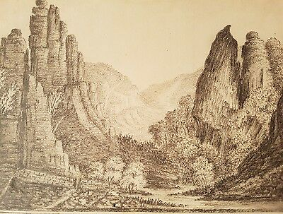Pencil drawing inscribed 'Dovedale Derbyshire' and signed P Walker 1821