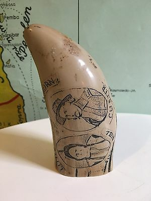 "Faux-scrimshaw tooth ""Little Bighorn"" & The Colt Navy Model"