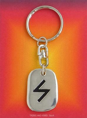 Keyring SOWULO Sun Rune of Power Victory 2sides Futhark Sowilo Sigel pagan norse