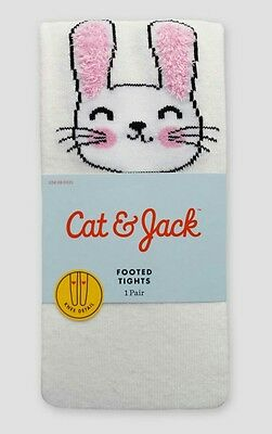 NEW Cat & Jack Girl's Size 4-6X (36-54 lbs) White Bunny Footed Tights--Easter