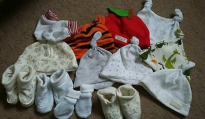 Mixed bundle including lots of newborn baby 0-3m hats, scratch mitts and booties