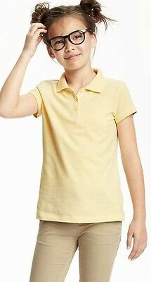 New Old Navy Girls Size L 10-12 Yellow Short Sleeve Polo Collar Shirt