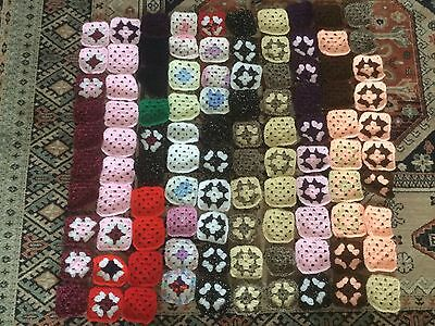 100 Crochet granny squares. Handmade for blankets, throws, cushion covers etc
